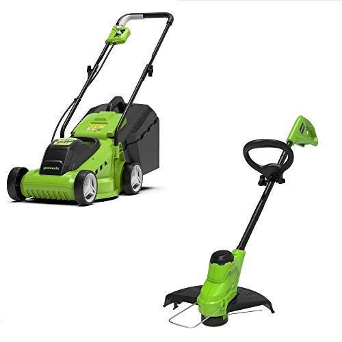 Greenworks Tools Cortacésped de iones de litio de 24 V con ancho de corte de 33 cm y cortador de hilos de 24 V y 25 cm de ancho de corte, incluye batería de 24 V y 2 Ah y cargador.