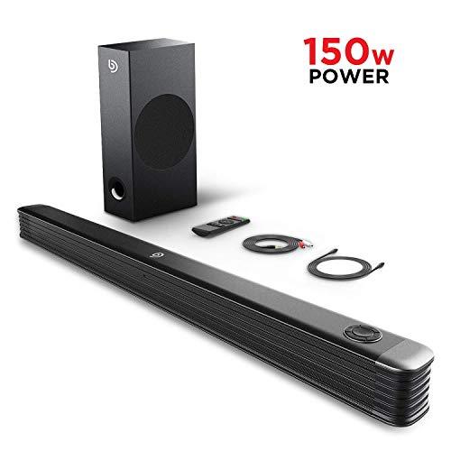 Soundbar mit Wireless Subwoofer 2.1 Kanal,BOMAKER 150W 35 Zoll Bluetooth 4.2 Lautsprecher für TV,DSP Technologie(mit AUX,USB,Koaxiale,Optischer Anschluss) für Heimkino,Party-Schwarz