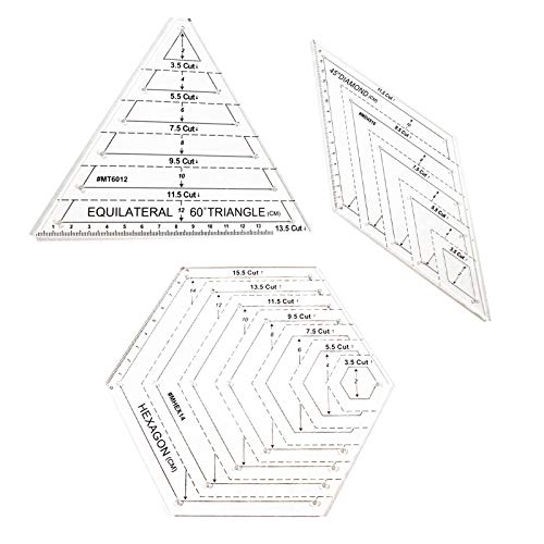 LdawyDE Patchwork Lineal Klares 3er Set Patchwork Lineal Acryl Quilting Lineal Enthalten Dreieck Sechseck 45-Grad Quiltlineal Schneidhandwerk Lineal Schneiderlineal DIY-Werkzeuge zum Handwerk