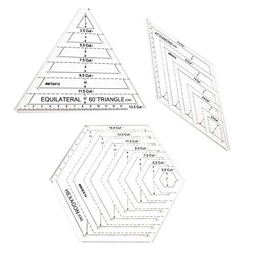 LdawyDE Reglas de Acolchado Regla Patchwork Transparente 3 Piezas Regla de Costura de Acrílico Contienen Triángulo Hexagonal 45 Grados Regla de Corte para Manualidades