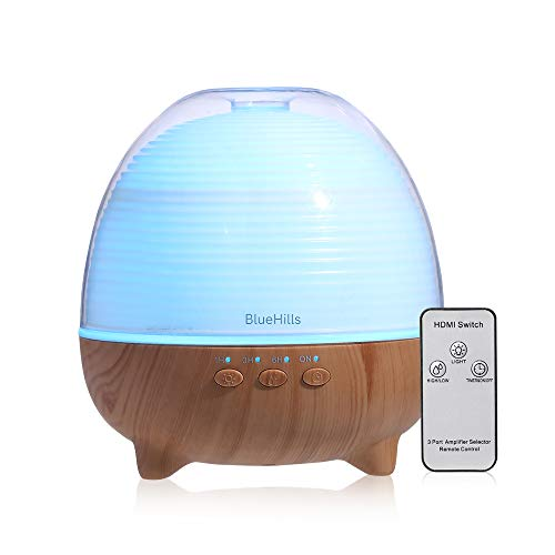 BlueHills Premium Essential Oil Diffuser with Remote Cute Aromatherapy Humidifier Large Capacity Coverage Area for Home Room Office Spa Long 12 hour Run Timer Mood Lights - Wood Grain-S02-600ML