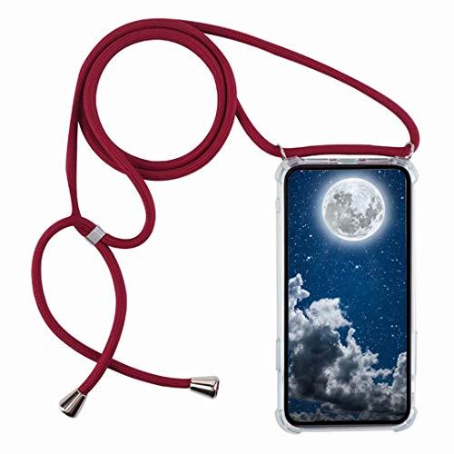 Funda con Cuerda para Xiaomi Redmi Note 6 / Redmi Note 6 Pro,Moda y Practico Carcasa de TPU Mate Case Cover con Colgante/Cadena,Rojo