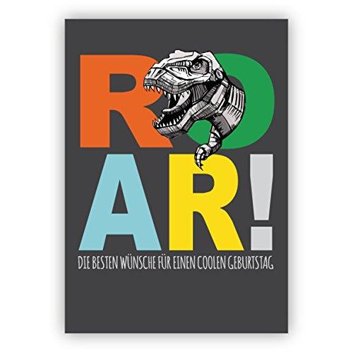 Mega coole verjaardagskaart voor dinosaurus fans met T-Rex op grijs: Roar! De beste wensen voor een coole verjaardag • direct verzenden met uw tekst als inlegger