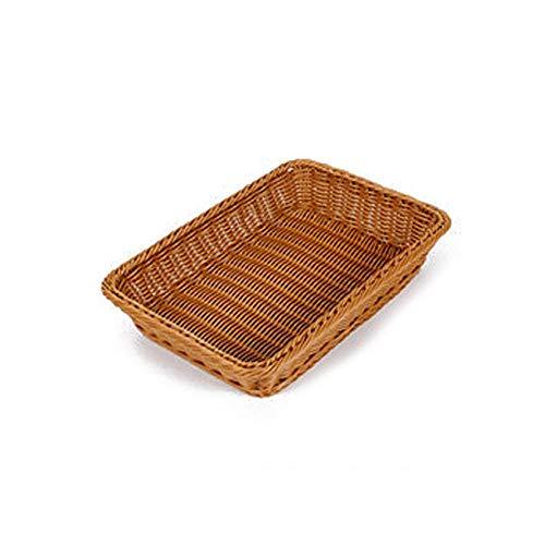 Kbsin212 Bandeja de almacenamiento de ratán – Cesta de mimbre, rectangular, cesta de almacenamiento para pan, cesta tejida, café, 35*25*8cm