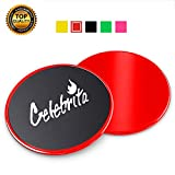 Celebrita Pair of Gliding Discs Core Sliders Ab, Back, Hip, and Leg Exercise Gear for Gym, Home, Yoga, Pilates | Strengthen Abdomen, Burn Fat, Improve Balance (Red)