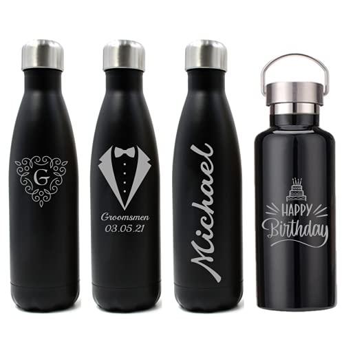 FunnyGuys Bottiglia personalizzata con incisione su doppia parete, per bambini, damigella d'onore, amici, insegnanti, allenatori, in acciaio inossidabile, 500ml, Nero