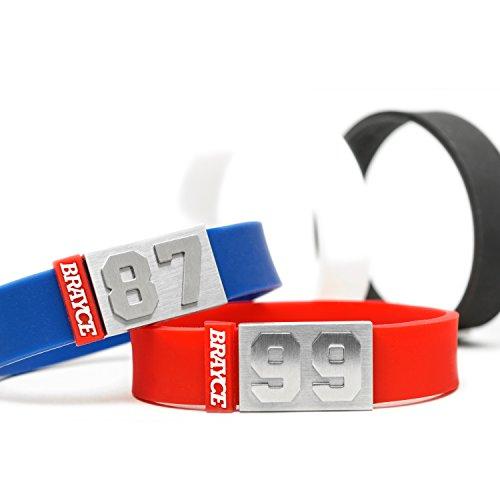 BRAYCE® Trikot am Handgelenk® mit Deiner Trikot Nummer 00-99 I Armband I Sportarmband/Teamarmband personalisierbar & handgemacht