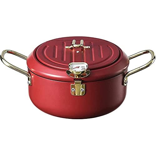 muuunann Fryer Frying Pot, freidora de Tempura japonesa con termómetro, tapa y escurridor de aceite, freidora de acero inoxidable antiadherente para cocinas fritas francesas, pescado y camarones