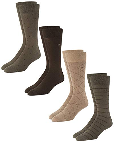 'Calvin Klein Men's Dress Socks - Cotton Blend Mid-Calf Patterned Crew Socks (4 Pack), Size Shoe Size: 7-12, Khaki'