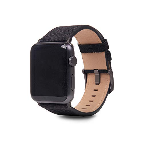 SLG Compatible with Apple Watch Band 42mm / 44mm, D+ Wax Canvas Replacement Strap Feature Black Adapters with Gift Box, Handmade and Designed for iWatch SE & Series 6/5/4/3/2/1 (Black)