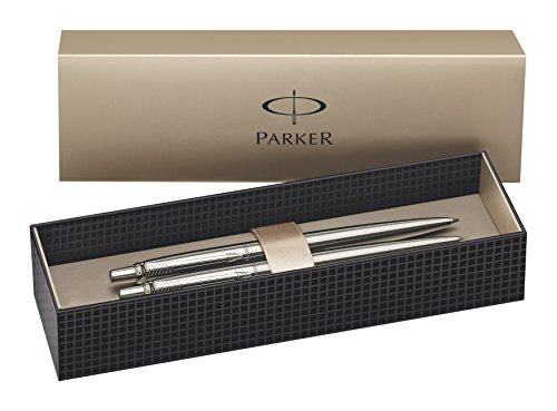 Parker Jotter Stainless Steel Chrome Trim Ball Pen and Mechanical Pencil - Set of 2