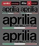 Set 6 Adhesivos Aprilia Racing Tallado + 4 Banderas Moto Stickers Coche