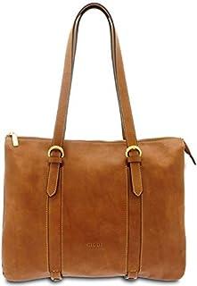 GIUDI ® - Borsa Donna in pelle vacchetta nuvolata, shopping, tracolla, borsa lavoro, Made in Italy, vera pelle. (Marrone)