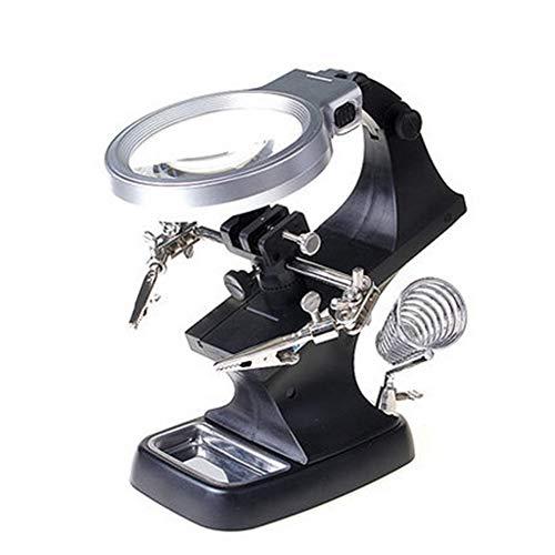 Remaxm Lupa LED de Soldadura, Soporte de Soldadura de Lupa LED, Pinza de cocodrilo para Ayudar a la Mano, Mesa de Ayuda para Soldadura, Soporte de Clip de cocodrilo LED para reparación, Soldadura