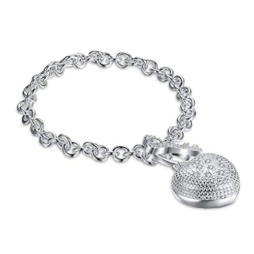 NaisiCore Uni cristalino del corazón Pulsera Claro Rinestone 8,5 Pulgadas Cuban Link 12mm Cadena Conjunto de joyería de Plata de los brazaletes