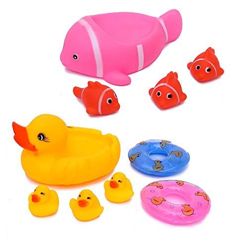 Flanacom Badeenten Quietscheenten Set - Baby Wasserspielzeug Badespielzeug Badewannenspielzeug - Kinder Spielzeug für die Badewanne - Scherzartikel (Set 1)