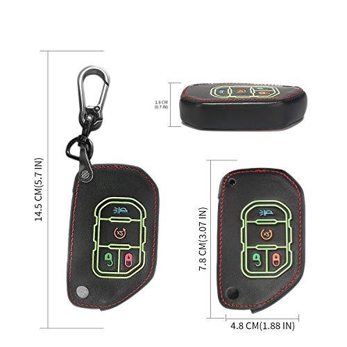 Alegender Black 4 Buttons Flip Leather Key Cover Case Fob Holder Bag Remote Keyless Protector Fit for 2018 2019 2020 Wrangler JL JLU Gladiator JT 68292944AA