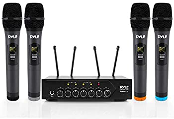 Portable UHF Wireless Microphone System - Battery Operated Four Bluetooth Cordless Microphone Set with 50 Channels Selectable Frequency Receiver Base AUX for PA Karaoke DJ Party - Pyle PDWM4120