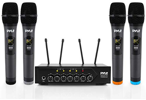 Portable UHF Wireless Microphone System - Battery Operated Four Bluetooth Cordless Microphone Set with 50 Channels Selectable Frequency, Receiver Base, AUX, for PA Karaoke DJ Party - Pyle PDWM4120