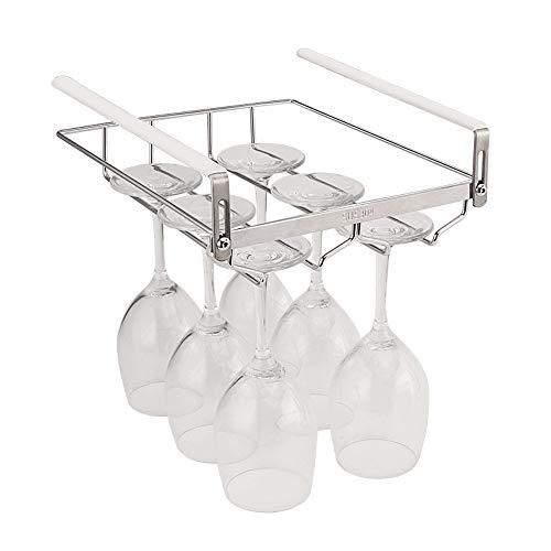 Vobajf Stemware - Estante de acero inoxidable para copas de vino, ajustable, para debajo del armario, estante de almacenamiento para copas de vino (color: plata, tamaño: 23 x 27,5 x 5 cm)