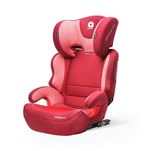 APRAMO Ostara Fix Kinderautositz Gruppe 2/3 (15-36 kg) Autositz Kindersitz ab ca. 3 bis ca. 12 Jahre (BURGUNDERROT)