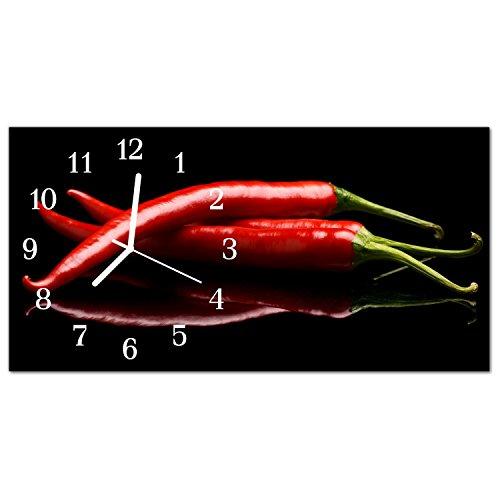 DekoGlas Glasuhr \'Paprika Mehrfarbig\' Uhr aus Echtglas, eckig große Motiv Wanduhr 60x30 cm, lautlos für Wohnzimmer & Küche