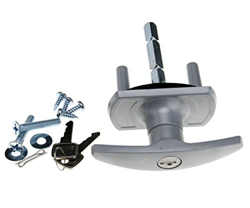 Cerradura para puerta de garaje, con espigas de fijación de 18/35mm y mango de 50/75mm, compatible con HENDERSON o CARDALE., plateado