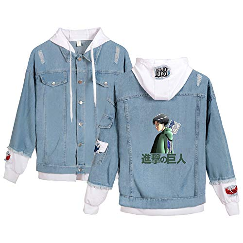 That's all Attack on Titan Blue Black Denim Jacket Jacket Coat Costume Printing Hooded Cosplay Hoodies Hoodie for Women and Men Ripped Denim Pullover(XS-4XL)