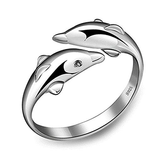 DDLBiZ- Anello con Due Delfini, Apertura Regolabile, in Argento Sterling 925, Idea Regalo