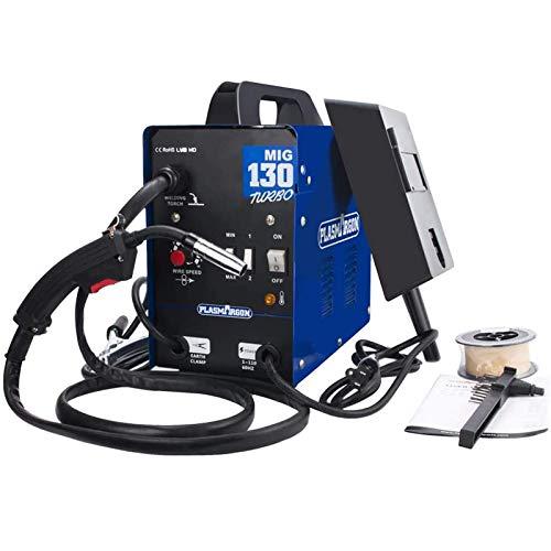 SUSEMSE MIG 130A Soldador de núcleo de fluido automático, soldadura CA, máscara sin gas, inversor semiautomático para privado, MIG-130 azul (220 V, 60 Hz)