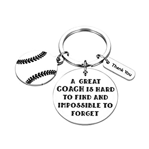 """⚾ Baseball Coach Gifts -- """" A great coach is hard to find and impossible to forget. """" A great gratitude quote deeply engraved on the keychain to tell your respectable coach that how special he/her is in your life that you will never forget him/her. ⚾..."""