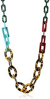 Anartxy Collar Tortoise Largo de Eslabones Multicolor y Textura Tipo Carey para Mujer de Resina, Mejor Regalo