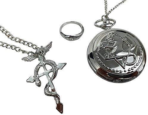 Fullmetal Alchemist Brotherhood Edward Elric Taschenuhr Ring & Halskette Geschenkset Don't Forget 3. Oct.11