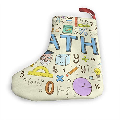 TYHG Christmas Stockings 3d Maths Numbers Formula Operations Personalized Xmas Stocking 10' For Party Decor & Gift Stuffers For Kids