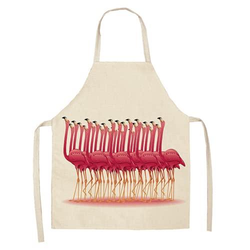 1 unids flamenco patrón de cocina delantales mujer adulto niños algodón lino baberos casero cocina bbq delantal limpieza accesorio 5365 cm