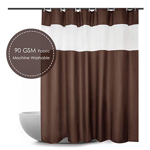 Ebecede Duschvorhang, extra lang, 183 x 198 cm, Schokoladenbraun, mit weißen Streifen, 90 g/m²