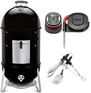 Weber Smokey Mountain Cooker 18 Inch Smoker All-in-One Bundle (3 Items)