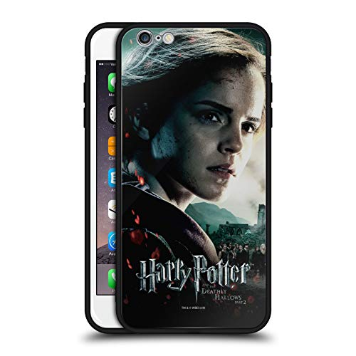 Ufficiale Harry Potter Hermione Granger Deathly Hallows VIII Cover Nera Ibrida in Vetro per Parte Posteriore Compatibile con Apple iPhone 6 Plus/iPhone 6s Plus