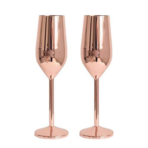 Baffect Juego de 2 flautas de champán, flautas de champán de acero inoxidable 304 Oro rosa 220 ml Juego de copas...