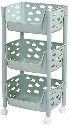 Estante para baño Estante para Piso Estantes Multicapa Caja de Acabado para refrigerios Canasta de plástico para Cocina Cesta (Tamaño: 37.5 * 32 * 78cm)