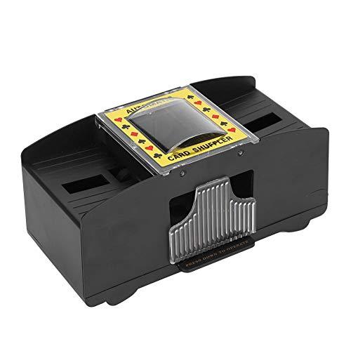 FILFEEL Máquina mezcladora electrónica de barajador, automático de Cartas para barajar Naipes de 2 mazos, Estuches de Cartas de póker, para Entretenimiento Popular Negro