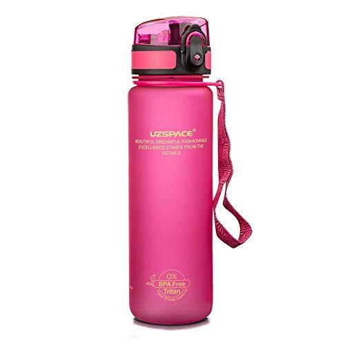UZSPACE Wasserflaschen, BPA-frei, auslaufsicher, langlebig, auslaufsicher, Kunststoffbecher mit Filter, Flip-Top, Waage, Sport, Fitness und Fitnessstudio, 1000 ml (Pink)