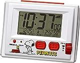 リズム時計工業(Rhythm) スヌーピー 目覚まし時計 電波時計  温度・湿度計付き R126 白 108X81X46mm 8RZ126RH03