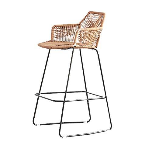 Decoración de muebles Rattan Chai Sillas de mimbre portátiles para exteriores con reposabrazos Reposapiés Sillas de marco de acero de ratán duradero para patio, jardín, patio, bistró, 49x52x75cm