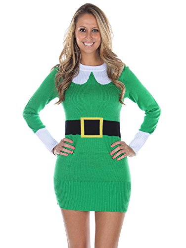 Tipsy Elves Women's Ugly Christmas Sweater - Elf Sweater Dress Green Size XL