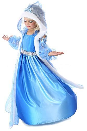 Tante Tina Mädchen 3-teiliges Eiskönigin / Schneeprinzessin Kostüm mit Umhang - Blau - Gr. 100 (92-98)
