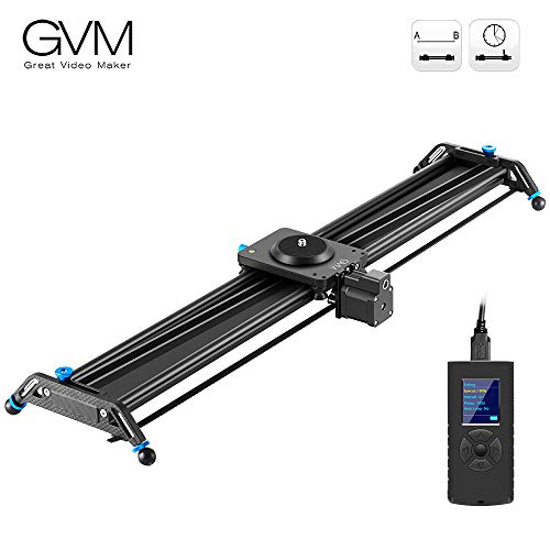 """GVM Motorized Camera Slider, 31"""" Aluminum Alloy Track Dolly Rail Camera Slider with Tracking Shooting, 120 Degree Panoramic Shooting and Time-Lapse Photography for Most DSLR Cameras, Load up to 22lbs"""