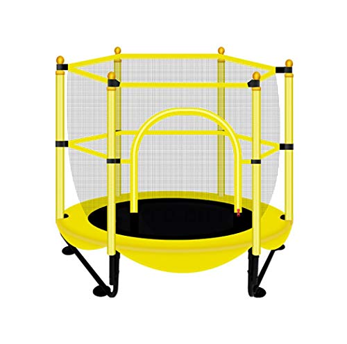 XUDREZ Round Mini Trampoline Indor Outdoor with Net Safety Enclosure Springs Gymnastics Equipment for Home Exercise Fitness Work-out Backyard Trampoline with Basketball Hoop