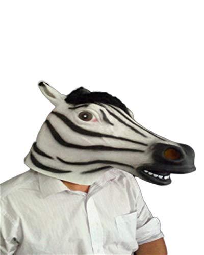 Rcsinway De Halloween mscara de ltex mscara Cosplay de Terror tocados Cebra Parodia de la Raya de Control del Partido del Vestido (Color : White)
