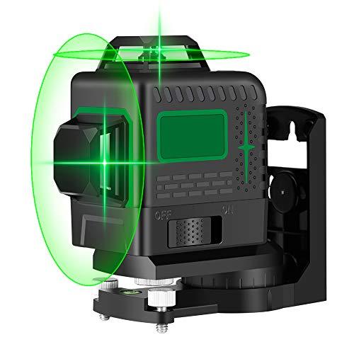 Livella Laser Autolivellante 25M, Careslong 3x360° Mini Linea Laser Verde a Croce, Livelli laser Linee, Orizzontale e Verticale Autolivellante 3D 12 Linee, IP54 Impermeabile Con 2 Batterie